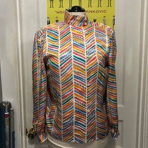 Vintage Colorful High Neck Anne Klein Blouse